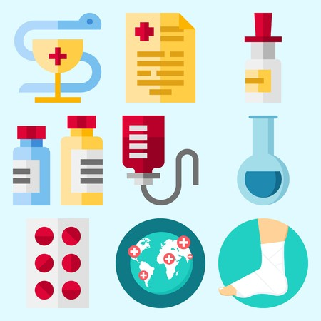 Icons set about Medical with medicine, medical result, worldwide, drob counter, sprain and pharmacy Illustration