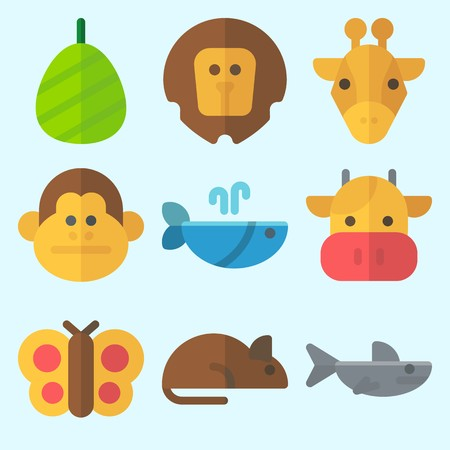 Icons set about Animals with whale, monkey, cocoon, shark, rat and butterfly Çizim