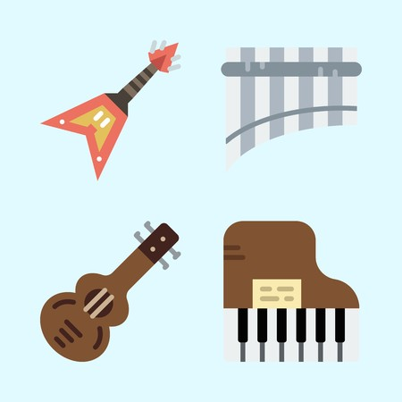 Icons set about Music with electric guitar, guitar, panpipe, spanish guitar and piano