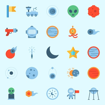 Icons set about Universe with astronaut, alien, eclipse, capsule, venus and comet