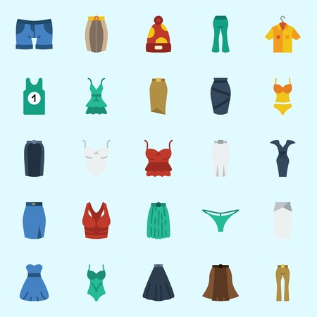 Icons set about Women Clothes with winter hat, skirt, shorts, dress, sleeveless and swimsuit Çizim