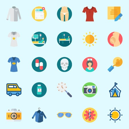 Icons set about Hippies with sunglasses, sun, pharmacy, nurse, photo camera and van