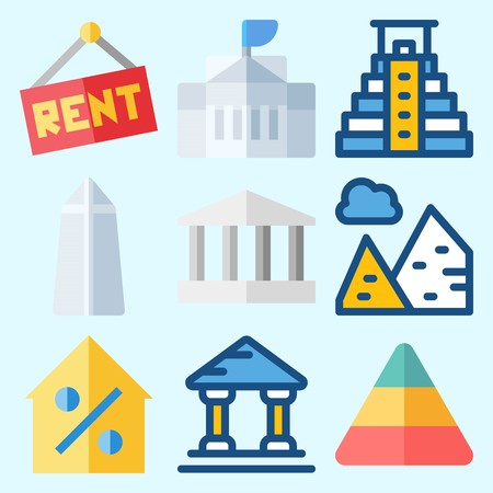 Icons set about Construction with real estate, monumental, for rent, percentage, washington monument and pyramids
