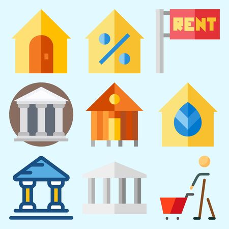 Icons set about Construction with for rent, rent, real estate, shopping, monumental and museum