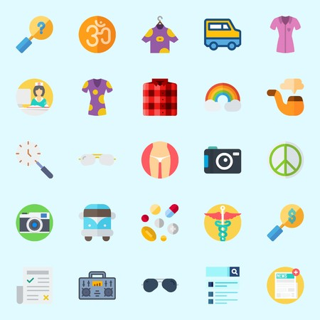 Icons set about Hippies with om, pill, van, radio, photo camera and pharmacy