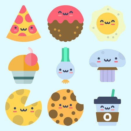 Icons set about Food with pizza, cheese, fried egg, scallion, meatball and cupcake