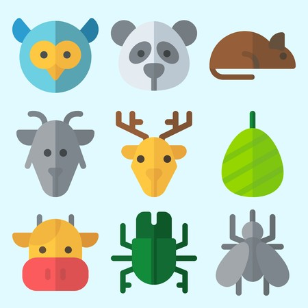 Icons set about Animals with cocoon, insect, cow, panda, deer and mosquito