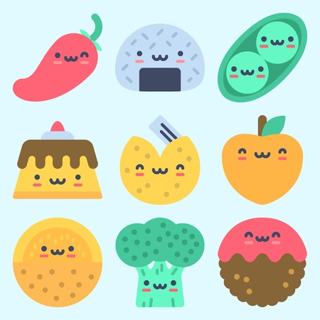Icons set about Food with fortune cookie, pea, meatball, onigiri, peach and melon Illustration