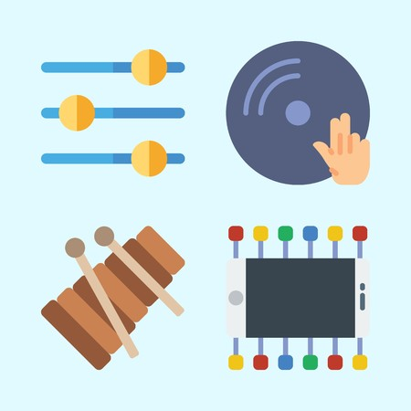 Icons set about Music with dj, smartphone, disc jockey, xylophone, levels and vinyl