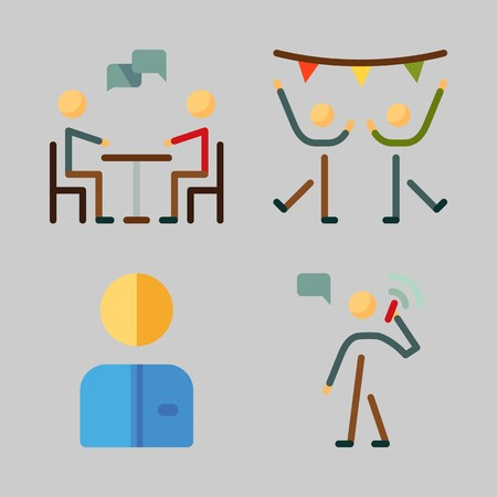 Icons set about Human with chating, calling, dancing, dancer, worker and male