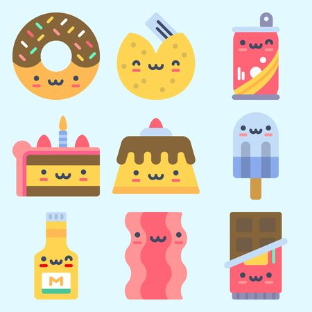 Icons set about Food with mustard, pudding, donuts, soda and fortune cookie
