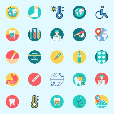 Icons set about Medical with surgeon, stethoscope, thermometer, surgery, worldwide and location Illustration