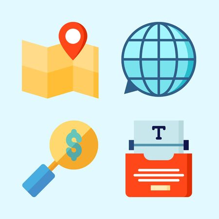 Icons set about Seo with type writer, map, search, location and translation