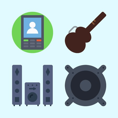 Icons set about Music with sound system, guitar protector, announcer, speaker and smartphone