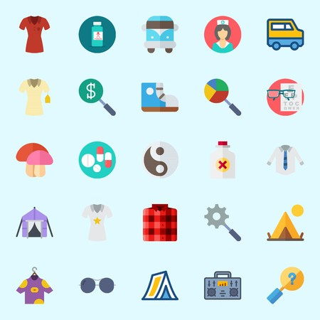 Icons set about Hippies with yin-yang, search, pills, sunglasses, poison and radio