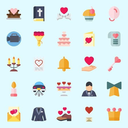 Icons set about Wedding with video camera, bible, love birds, suit, cupcake and bow Illustration