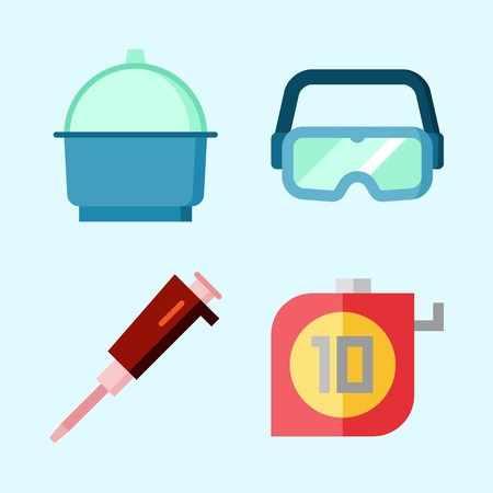 Icons set about Laboratory with condenser, measuring, secure glasses and crucible Illusztráció