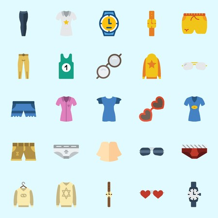 Icons set about Man Clothes with trousers, sunglasses, sleeveless, short, underwear and watch