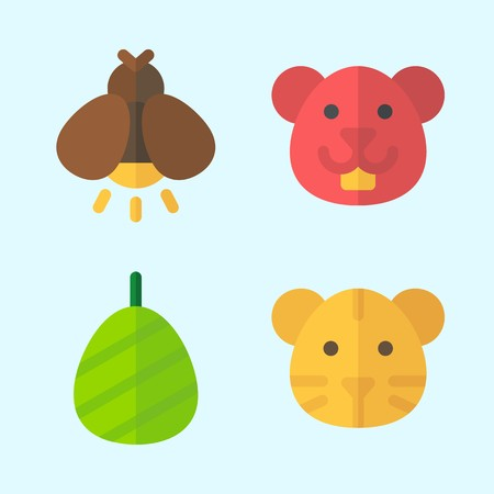 Icons set about Animals with firefly, hamster, cocoon and tiger Çizim