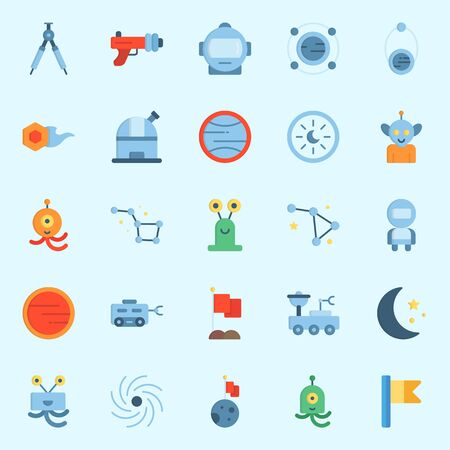 Icons set about Universe with blaster, compass, observatory, astronaut and mars Illustration