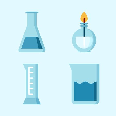 Icons set about Laboratory with beaker, cylinder, burner and test tube