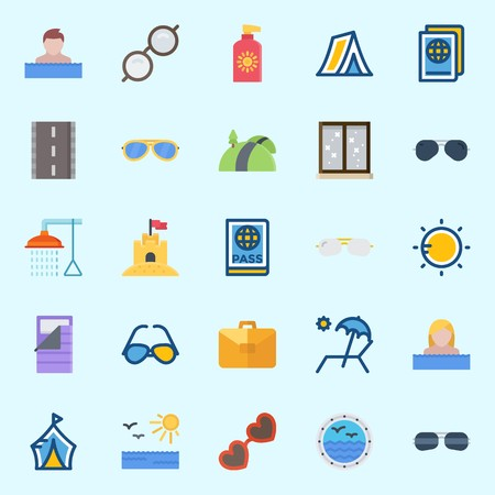 Icons set about Beach And Camping with window, sand castle, bathing, sun protection, sunglasses and swimmer