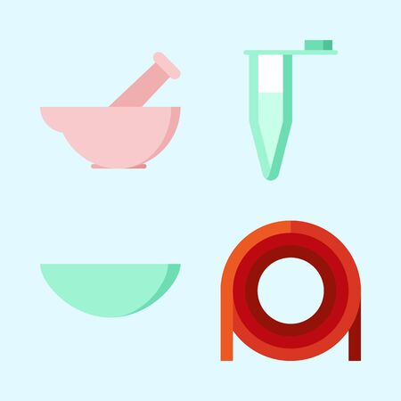 Icons set about Laboratory with lab, dropping liquid and watch glass