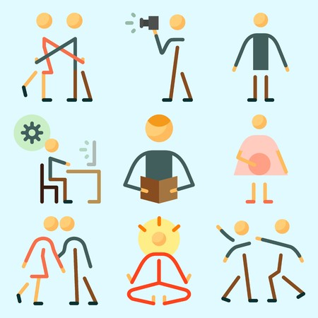 Icons set about Human with reader, couples, kissing, programmer, hug and fight
