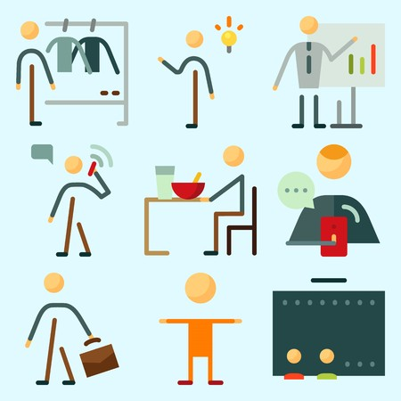 Icons set about Human with calling, kid, invention, businessman, whiteboard and eather Illustration