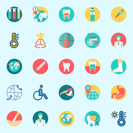 Icons set about Medical with water, wheelchair, teeth, worldwide, thermometer and yoga