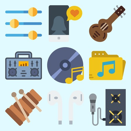 Icons set about Music with xylophone, cd, speaker, microphone, music folder and announcer