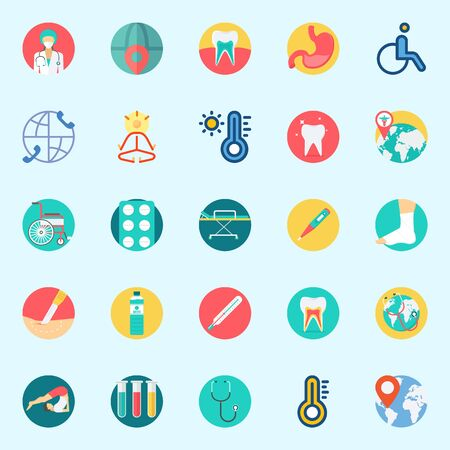 Icons set about Medical with wheelchair, water, teeth, stretcher, test tubes and yoga