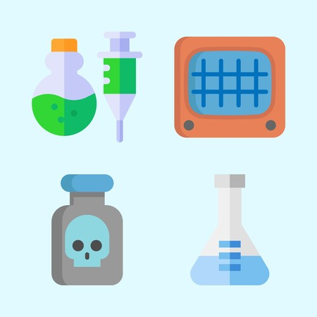 Icons about Science with monitor, poison and flask