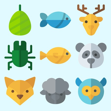 Icons set about Animals with fox, sheep, cocoon, panda, owl and fish