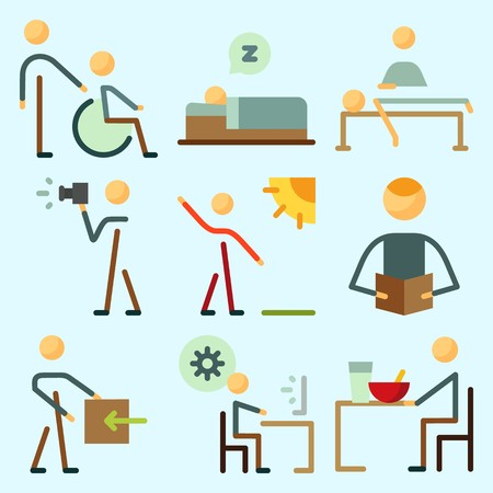 Icons set about Human with massage, programmer, relaxing, sleeping, photographer and reader