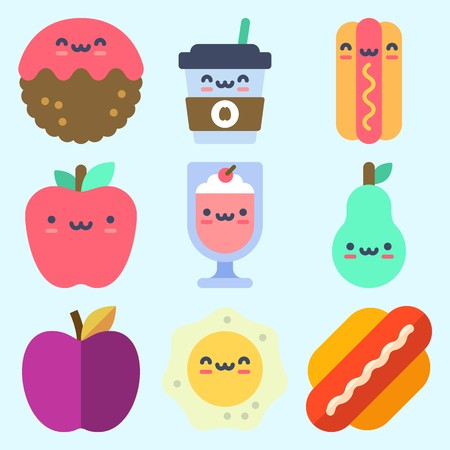 Icons set about Food with fried egg, hot dog, pear, coffee cup, milkshake and meatball