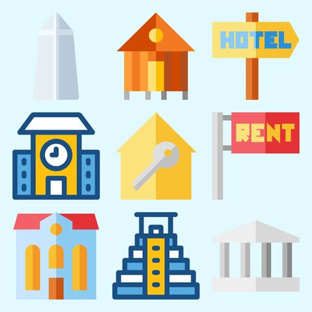 Icons set about Construction with monumental, rent, real estate, for rent, washington monument and school