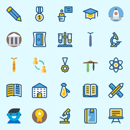 Icons set about School And Education with test tube, museum, notebook, startup, missile and utensils Stock Illustratie
