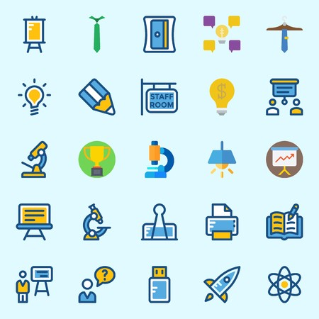 Icons set about School And Education with pencil, staff, sharpener, presentation, pendrive and microscope Illustration
