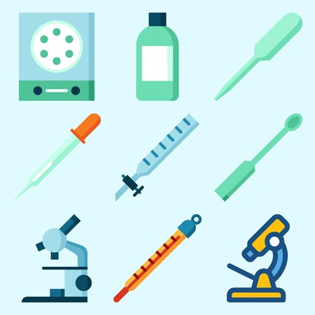 Icons set about Laboratory with kipps apparatus, microscope, measuring, lab, ladle and thermometer