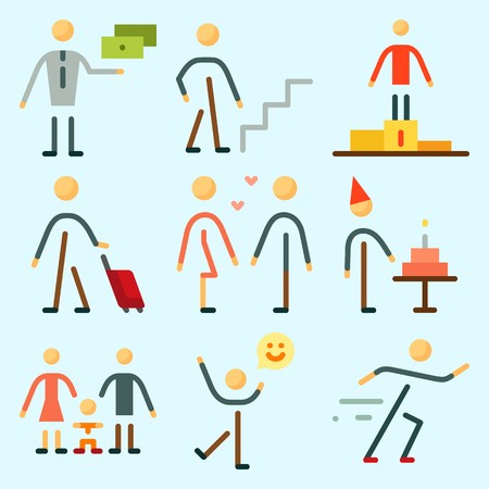 Icons set about Human with male, traveller, man, exchanger, olimpic games and girlfriend