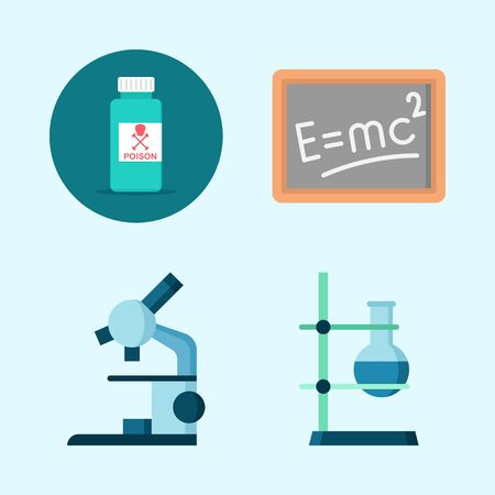 Icons about Science with poison, flask, blackboard and microscope