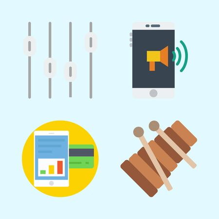 Icons set about Music with xylophone, smartphone and levels