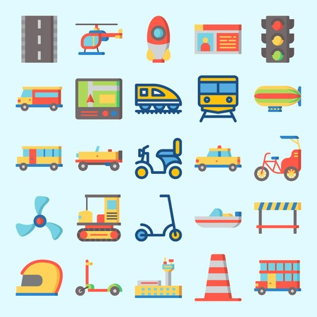 Icons set about Transportation with car, zeppelin, train, bike, all terrain and taxi