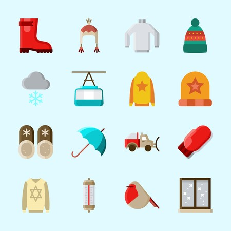 Icons about Winter with sweater, umbrella, robin, cable car cabin, window and slippers Vettoriali