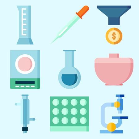 漏斗、シリンダー、実験室、試験管、顕微鏡および谷が付いている実験室について設定されるアイコン