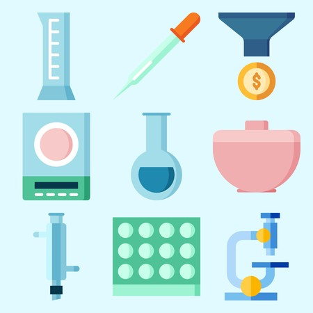 Icons set about Laboratory with funnel, cylinder, lab, test tube, microscope and trough