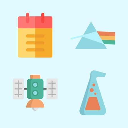 Icons about Science with refraction, notebook, satellite and flask