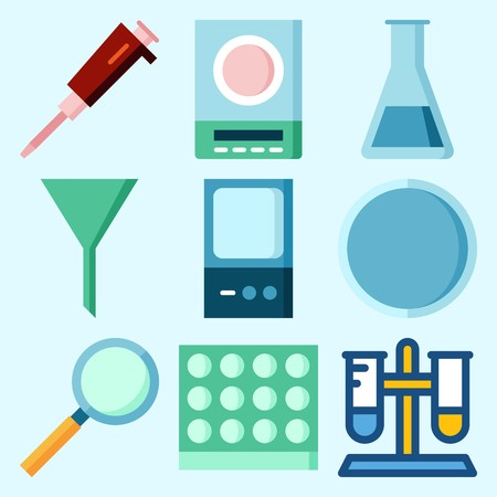Icons set about Laboratory with test tube, watch glass, funnel, lab, condenser and loupe