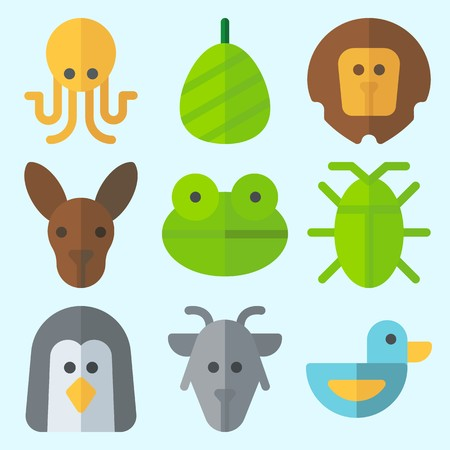 Icons set about Animals with duck, octopus, lion, frog, cockroach and goat